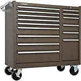 Kennedy Manufacturing 315XB 39'' 15-Drawer Industrial Double-Bank Roller Cabinet, Tan Brown Wrinkle