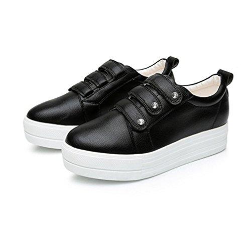 Sans Basket Casual Compensé Noir Cuir Lacets Haute À Plat Chaussure Femme qwp7SRFXW