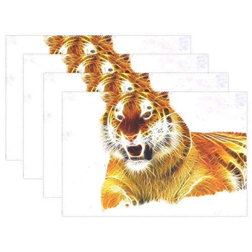 Promini Heat-Resistant Placemats, Tiger Animal Wild Wild Animals Wildlife Nature Washable Polyester Table Mats Non Slip Washable Placemats for Kitchen Dining Room Set of ()