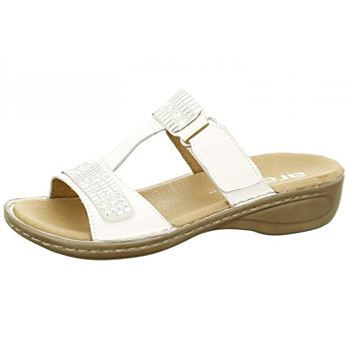 Ara Women's 37221-07 White Leather Velcro Mule Sandal 7