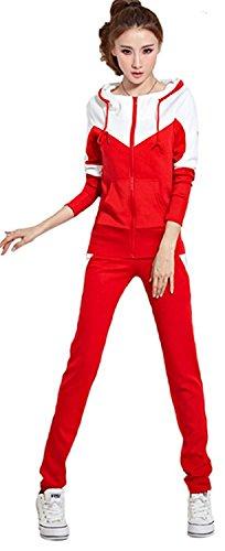 ainrving Women's Fashin Hooded Sweatshirt Pant Sports Outwear Tracksuit 2 Pcs Set RedAsian - Place Wheelock