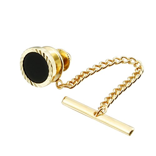 Gold Gold Tone Tie Pin (Mens Black Tie Tack with Chain Mens Wedding Business Shirt Acceesories - Gold Tone)