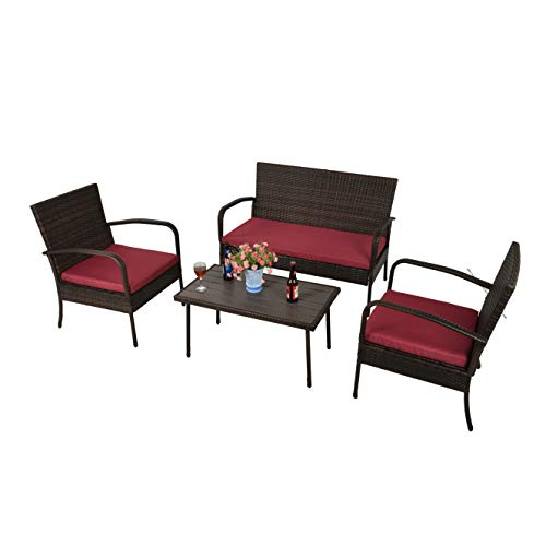 Feelway Outdoor 3 Pcs Rocking Chair Patio Wicker Furniture Bistro Set Two Chairs One Table Cushioned (PVC Belt)