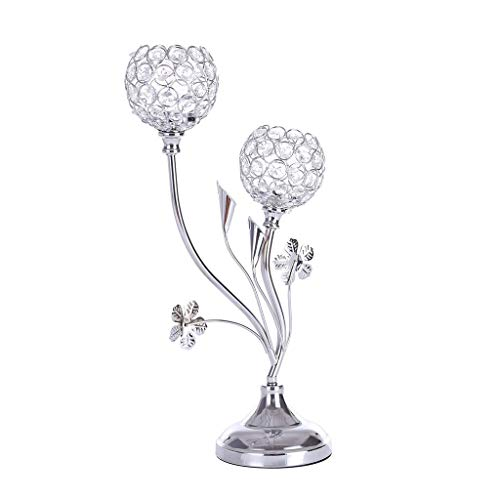 (Transser Romantic Crystal Candlestick - Luxury Tealight Candle Holder Candelabra for Wedding Valentine's Day Candlelight Dinner Decoration, Shipping From CA. or NJ.)