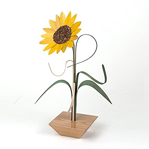 Simply Zen: 1 Wood Flower in Tabletop Vase (Sunflower: Yellow)