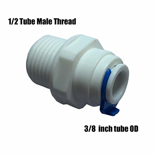 Malida Push To Connect Tube Fitting ,Quick Connect RO Reverse Osmosis Water Filter (1/2 NPT Male x 3/8 OD Tube)