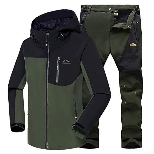 Conjunto WANPUL Verde Outdoor Softshell Chaqueta ejército Pantalones Montaña Transpirables Softshell Montaña Verde Chaqueta Ejército Pantalon Hombre qZxUXqr