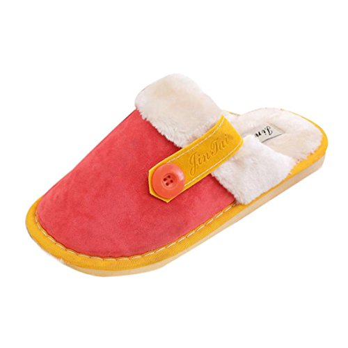 Rcool Dame Womens Soft Warm Indoor Cotton Slippers Home Anti-Rutsch-Schuhe Rot
