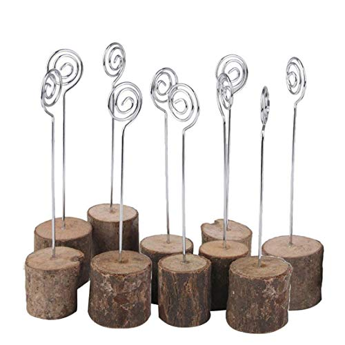 TENINYU Wedding Table Card Holder, Real Wooden Base Photo Holder - Suit Photo,Picture,Memo,Card,Business Card Clip (10 Pack) -
