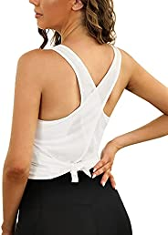 Quenteen Womens Yoga Tank Tops Cross Back Workout Shirts Gym Athletic Tops Clothes