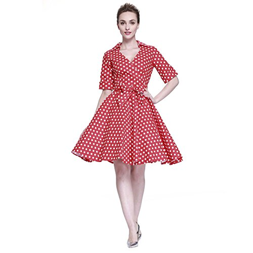 Heroecol Womens Vintage 1950s Dresses Cross V Neck Short Sleeve 50s 60s Style Retro Swing Cotton Dress Size 2XL Color Red With White Polka Dot
