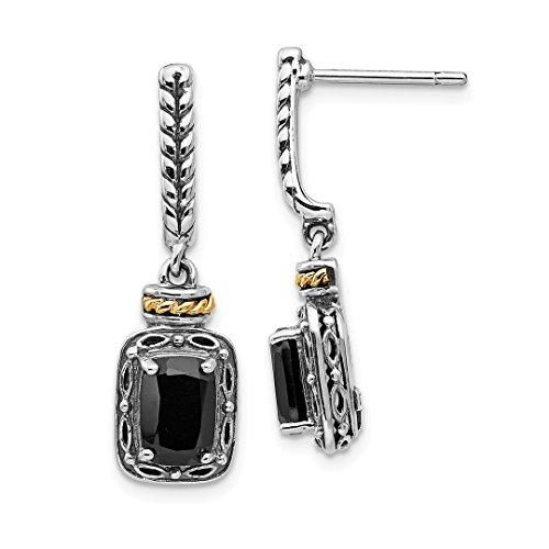 (925 Sterling Silver 14k Black Onyx Post Stud Drop Dangle Chandelier Earrings Fine Jewelry For Women Gift Set)