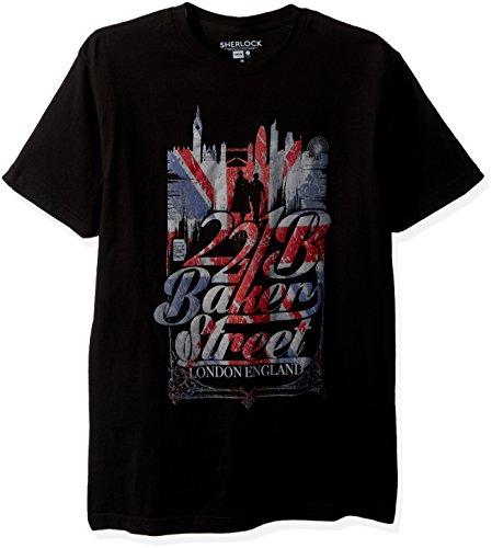 Sherlock Men's 221b Baker Street T-Shirt, Black, Large