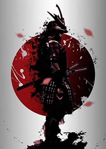 LIEFENGDAO Canvas Print Wall Art Painting,Vivid Red Strong Japanese Samurai Character,Canvas Painting Wall Art Posters Prints No Frame Pictures Living Room Home Decoration,50X70Cm(20X28Inch)