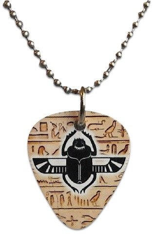 "Egypt Pick (Unique and Custom (.76 MM Thick) Medium Gauge Aluminum, Traditional Style ""Round Tip"" Guitar Pick Pendent w/ Egyptian Symbol {Tan, White, & Black - One Pick} w/ Hole for Necklace & 24"