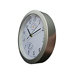 YUSOUND Silent Indoor Wall Clock with Thermometer and Hygrometer, 10 Inch (Silver-gray)