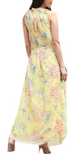 Jaycargogo Des Femmes De L'été Mince Forme Florale Robe De Mousseline Bohème Sans Manches Imprimé 1