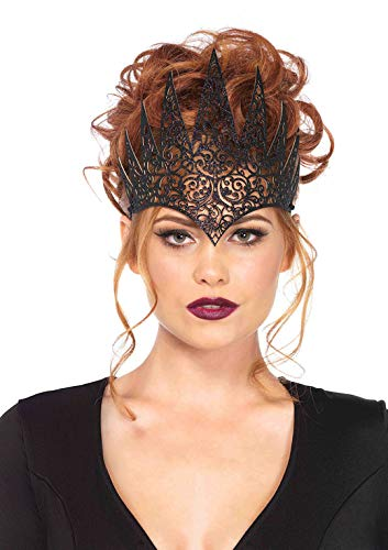 Halloween Costume Vampire Woman (Leg Avenue Women's Fairy Tale Queen Crown, Black, One Sizes Fit)