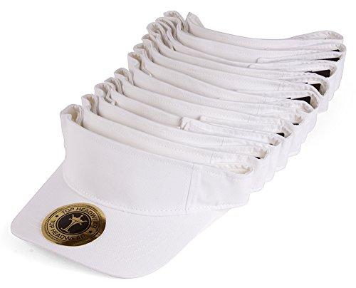 TOP HEADWEAR Blank Adjustable Visors - 12-Pack - White]()