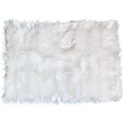 Serene Super Soft Faux Sheepskin Shag Silky Rug Baby Nursery Childrens Room Rug Ivory White, 2' x 3'