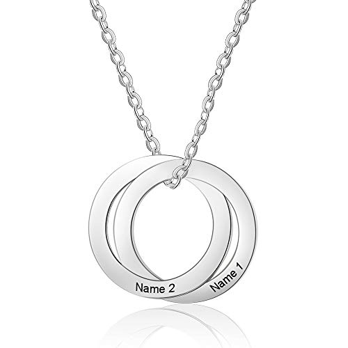 ROSI Personalized Russian Ring Mothers Necklace 4 Name Mom Necklace Mother's Necklace Family 4 Name Necklace (Silver2)