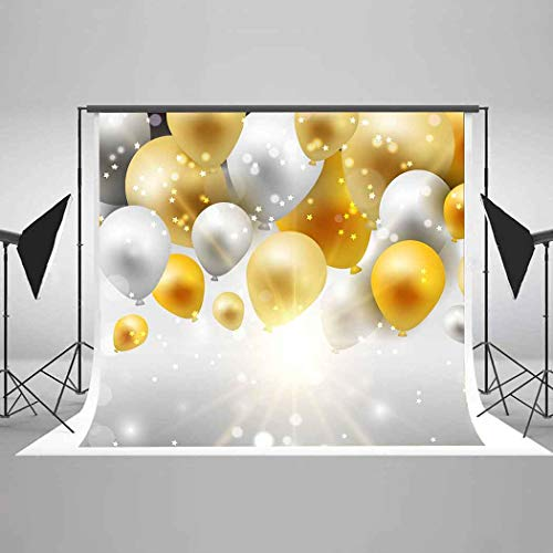 EARVO 7x5ft Balloons Sparkling Stars Photography Background New Year Party Birthday Party Decoration Cotton Backdrop (Wrinkle Resistance) Studio Video Props EAM008