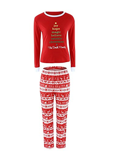 WorkTd Letter Print Christmas Matching Pamajas Family PJS 2 Piece Sets Clearance Women S (Christmas Pjs Ladies)