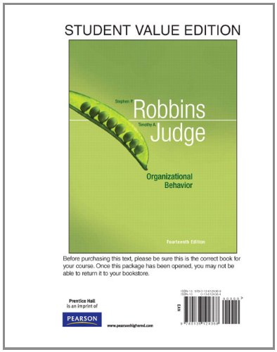 Organizational Behavior, Student Value Edition (14th...