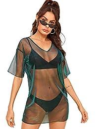 MAKEMECHIC Vestido de Playera de Malla Transparente de Manga Corta para Mujer, Verde Azulado, S