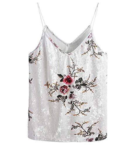 FarJing Women Sleeveless Casual Basic Strappy Velvet V Neck Camis Tank Top Crop Shirt(L,Multicolor)