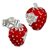Tee-Wee stud-earring red strawberry with white zirconias, 925 Sterling Silver SDO8115R
