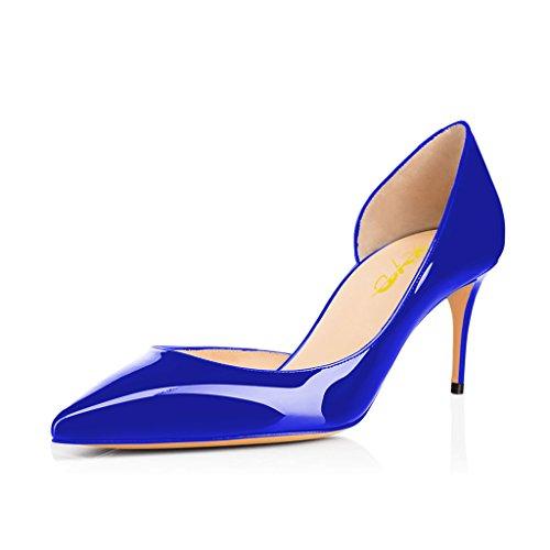 Xyd Bajo Atractivo De Los Zapatos De Tacón De Orsay, Señalaron Deslizamiento Del Dedo Del Pie De Gato Noche Bombea Para Las Mujeres Azul Marino De Patentes
