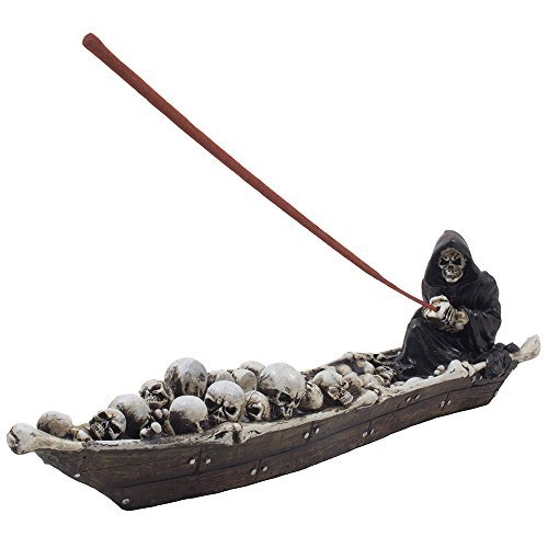 Home-n-Gifts 12-inch Scary Grim Reaper in Fishing Boat of Skulls Incense Holder, Multi-colored -