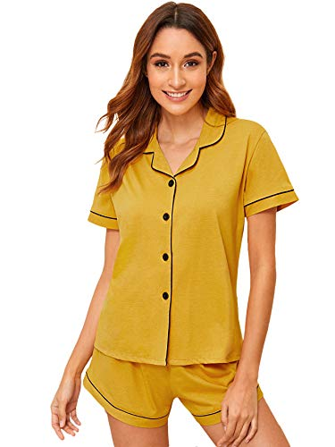 Floerns Women's Notch Collar Short Sleeve Sleepwear Two Piece Pajama Set Yellow XL (Womens Short Sleeve Pajamas Xl)