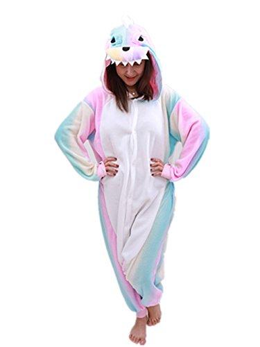 Animal Onesie Dinosaur Pajamas-Plush One Piece Costume (X-Large, Pink Rainbow) by COCOPLAY