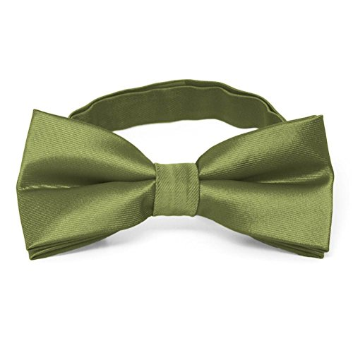 TieMart Olive Green Band Collar Bow Tie