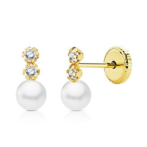 0529ef7f2c82 En venta Pendientes bebé niña perlas 8x4mm oro amarillo 18k circonitas  garras ...