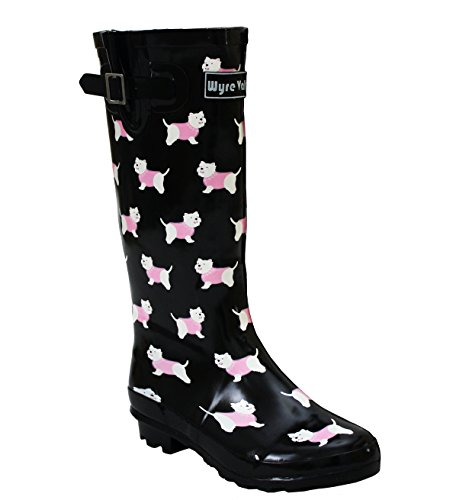 A&H Footwear Ladies Womens New Wide Calf Adjustable Snow Rain Mud Festival Waterproof Wellington Boots Wellies UK 3-8 (Maximum Calf Width 42 cm) (UK 4, Yorkie Dog/Black)