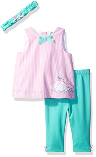- Little Me Baby Girls' 3 Piece Woven Tunic Set with Headband, Pink/Multi, 6 Months