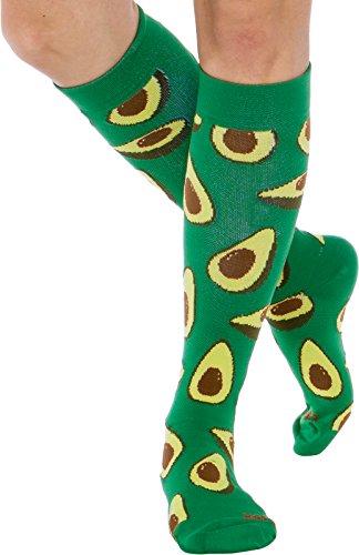 Lish Fun Running Compression Socks   Graduated 15 25Mmhg Colorful Knee High Sport Socks For Men And Women  Avocado  S M