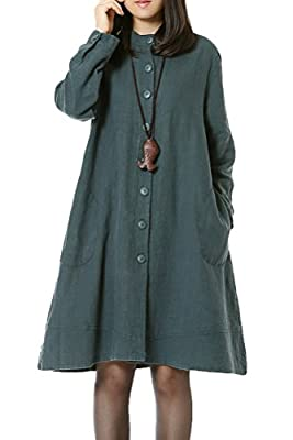 Mordenmiss Women's New Cotton Linen Full Front Buttons Jacket Outfit with Pockets
