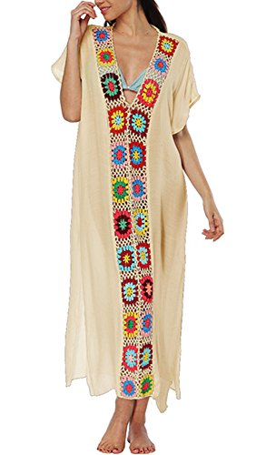 (KIDVOVOU Women Bathing Suits Cover Up Ethnic Print Kaftan Beach Maxi Dress,Apricot V,One Size)