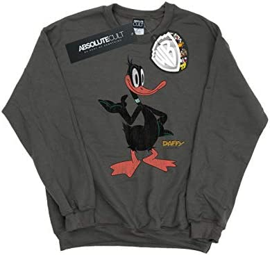 Absolute Cult Looney Tunes Herren Daffy Duck Distressed Sweatshirt Holzkohle Medium
