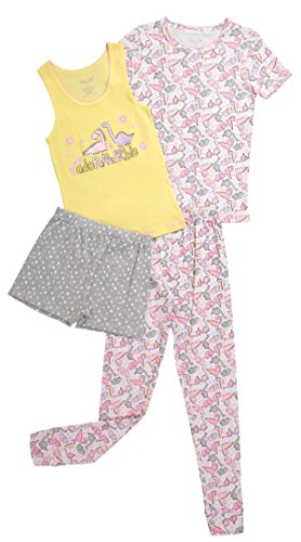 Girls Snug Fit Short Sleeve Shirt Tank Top Pants & Short Pajama Sleepwear Set (4T, Sunshine / Prism Pink) (Snug Kids Sunshine)