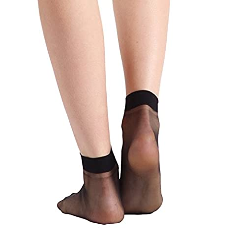 Socks Nylon, INCHER Nylons Black Dress Socks High Heeled Shoes Ankles For Women Ankle Socks Pantyhose 20 Pairs Women's (Ankle High Hose)