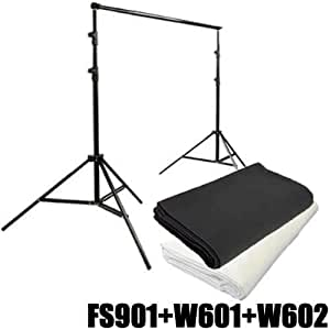 Kit Soporte Portafondos Tripode DynaSun FS901 HQ con Fondo Blanco y Negro 3x6mt Estudio Foto Video
