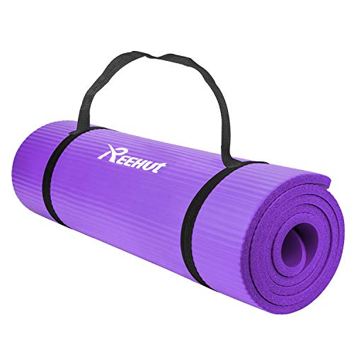 REEHUT 1/2-Inch Extra Thick High Density NBR Exercise Yoga Mat for Pilates