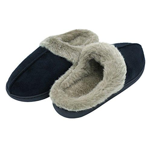 Q-plus Pantofole Uomo E Donna Memory Foam Fluffy Slip On House Slipper Warm Clog Soft Slipper Indoor Nero