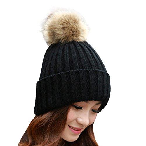 Swizze Fashion Women Winter Fur Ball Warm Hat Crochet Knitted Wool Cap (Black) (Black Leather Hat With Fur Ball On Top)