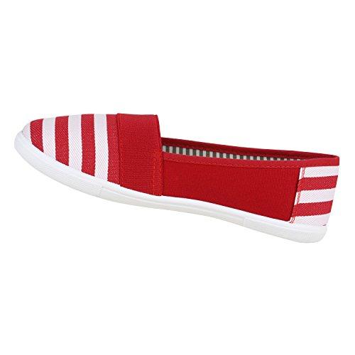 Stiefelparadies Bequeme Damen Slipper Slip-Ons Sportliche Schuhe Flats Stoffschuhe Prints Glitzer Freizeitschuhe Flandell Red Weiss